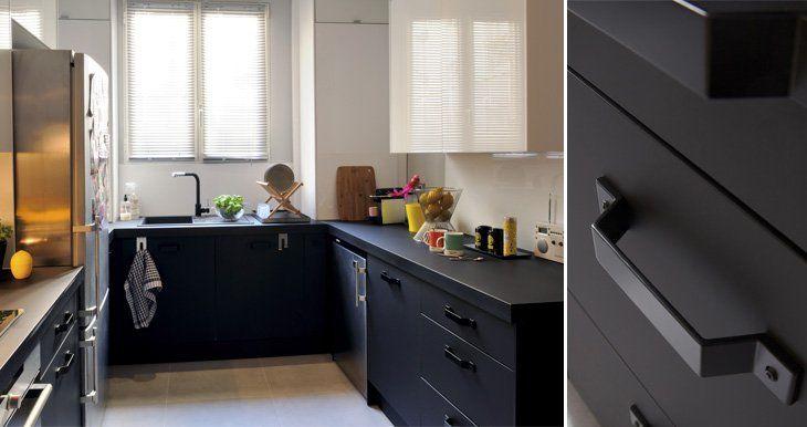 meuble de cuisine noir delinia mat
