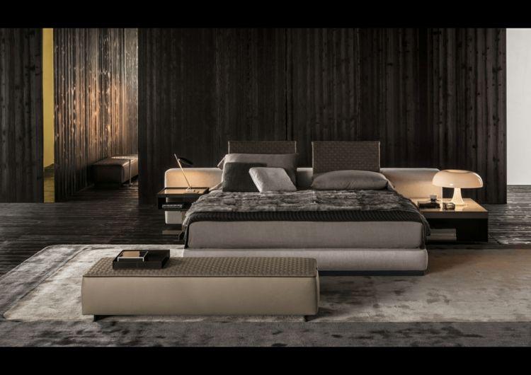 """Bett mit minimalistisch grauem design bilder  Bett mit minimalistisch grauem Design – """"Yang"""" von Minotti   Bett ..."""