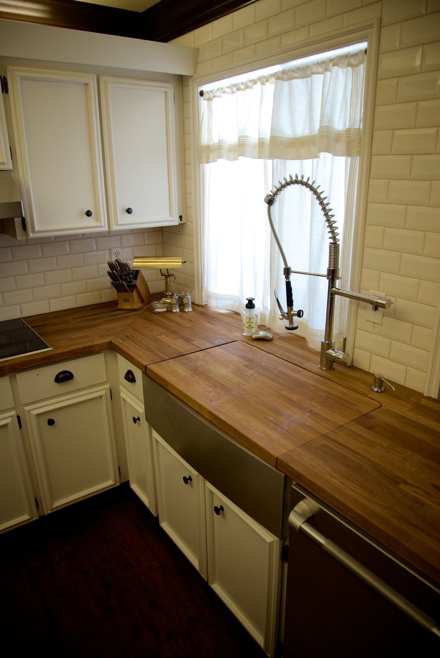 My Kitchen Butcher Block Counters Creme 3x6 Beveled Subway Tile