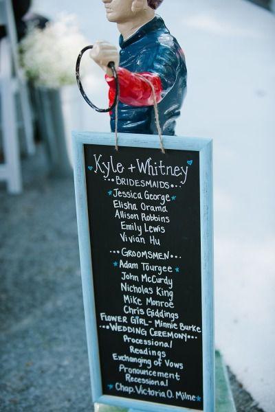 Wedding Program on a Chalkboard -- instead of printed. As seen on #SMP here: http://www.StyleMePretty.com/2014/05/24/horse-farm-wedding-in-saratoga-springs-new-york/ #programs - Sj2 Photography - sj2blog.com