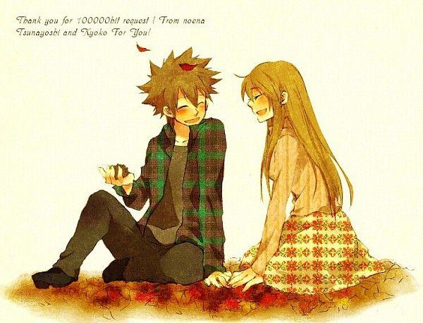 Tags: Anime, Katekyo Hitman REBORN!, Leaves, Sawada Tsunayoshi, Sasagawa Kyoko