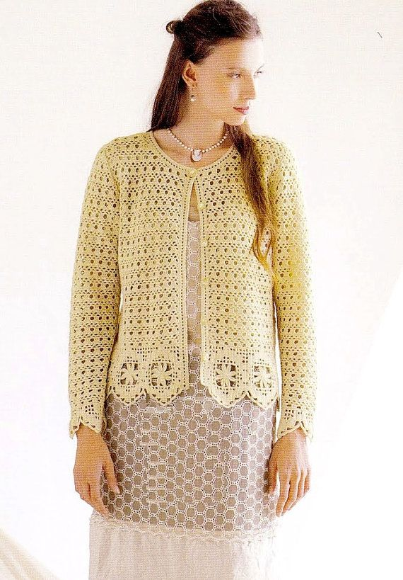 Crochet Pattern PDF for Ladies Cardigan with by CraftbookBazaar