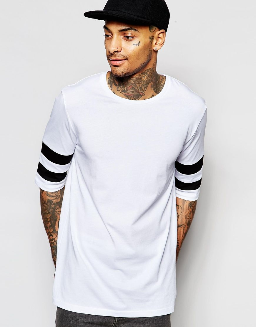 ASOS Longline T-Shirt With Cut And Sew Panels In Monochrome And Half Sleeves