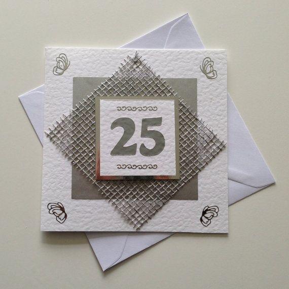 Handmade 25th Silver Wedding Anniversary Card Wedding, Wedding ...