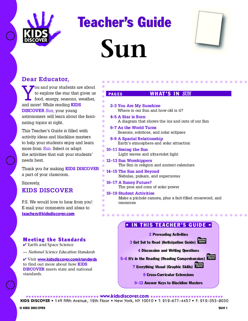 Sun Kids Discover Free Lesson Plans Kids Discover Science Lessons