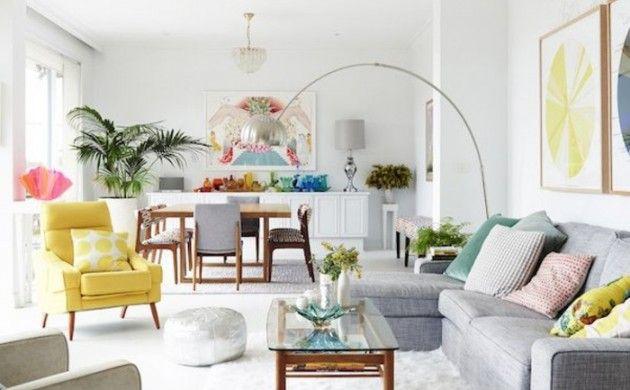 weiße wandfarbe wohnideen wohnzimmer teppich gelber sessel - wohnideen für wohnzimmer