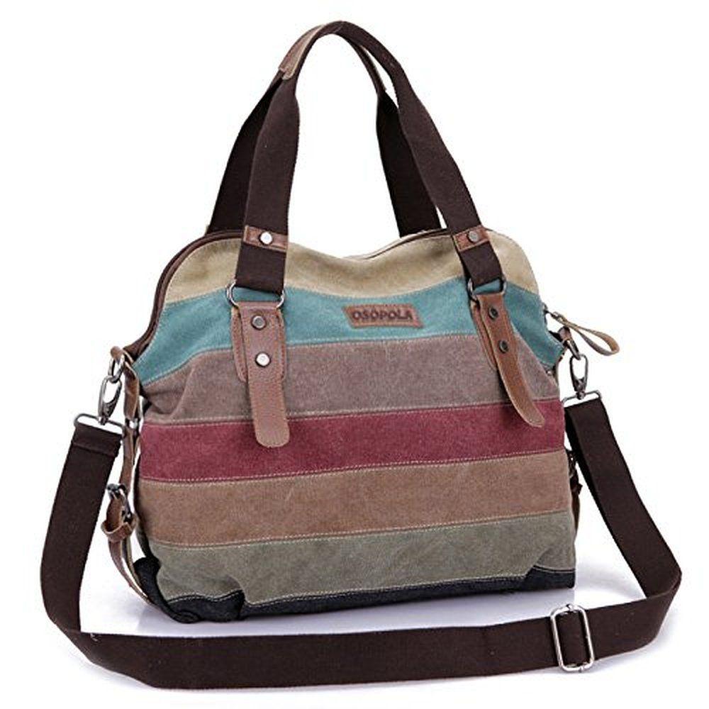 OSOPOLA M-1196 Leisure Canvas Top Handle Cross Body Bag Tote Handbags for Women None
