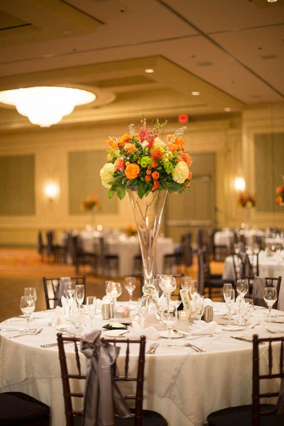 Orange, green, and grey wedding tablescapes Fall Wedding Ideas