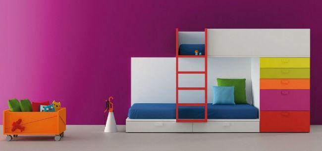 Kinderhochbett design  Hochbett modern-Design Schrank Stauraum-Pink Wandgestaltung 06-bm ...