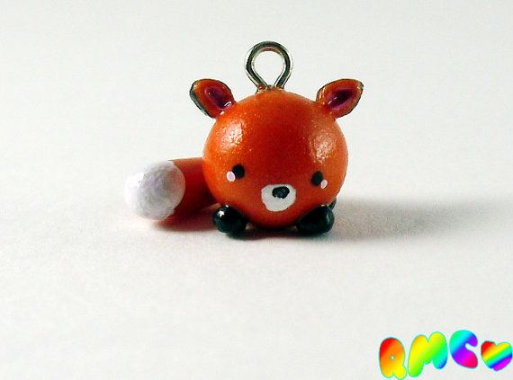 Cute Miniature Fox Charm, Hand Sculpted, Polymer Clay on Etsy, $6.00