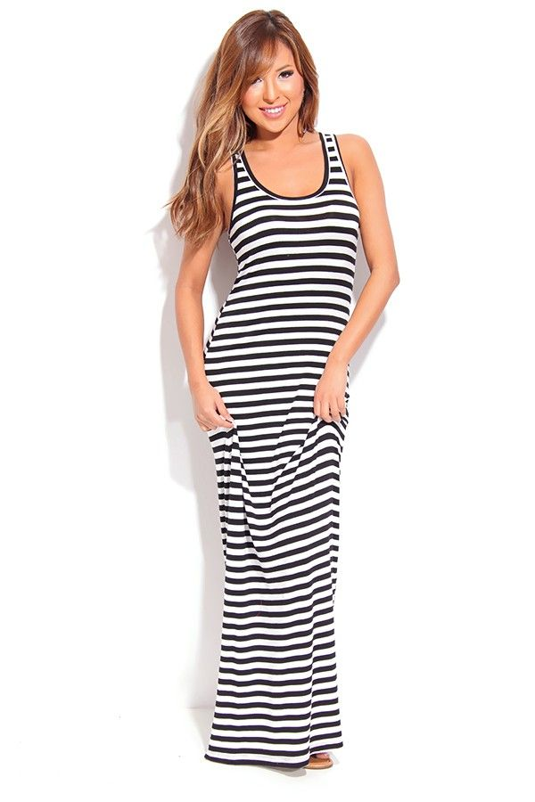 60b0cda8b861 BLACK WHITE STRIPES SLEEVELESS SCOOP NECK MAXI DRESS. BLACK WHITE STRIPES  SLEEVELESS SCOOP NECK MAXI DRESS Sexy Maxi Dress