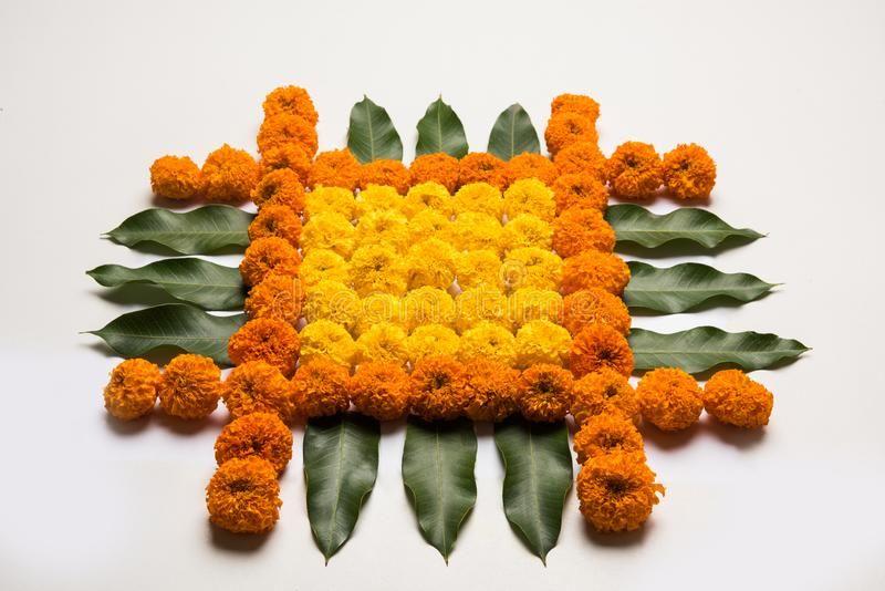 Flower Rangoli For Diwali Or Pongal Or Onam Made Using Marigold Or Zendu Flowers Spon Marigol Diy Diwali Decorations Rangoli Designs Flower Flower Rangoli