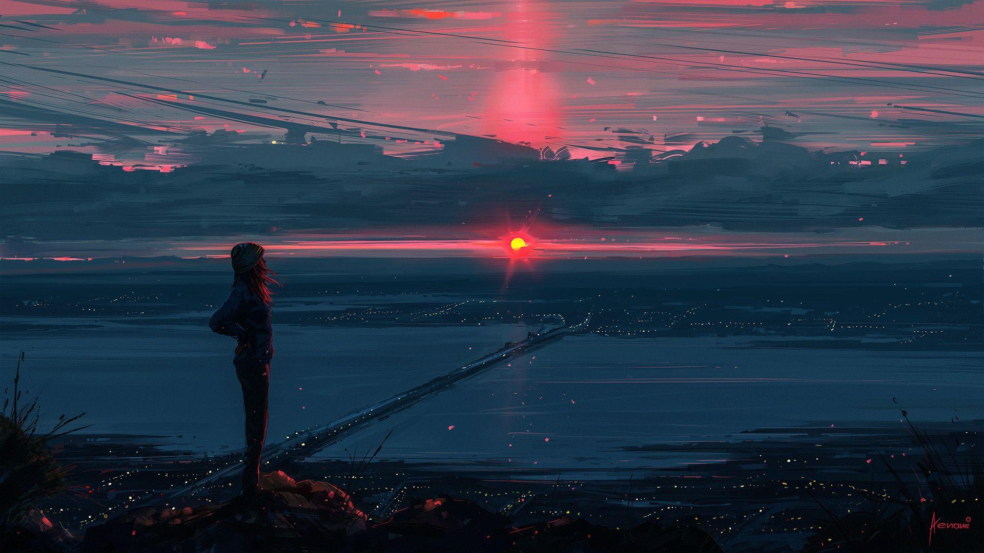 Dreamer Digital Illustration 1920h1080 Http Ift Tt 2hlljbb Colorful Landscape Scenery Wallpaper Anime Scenery