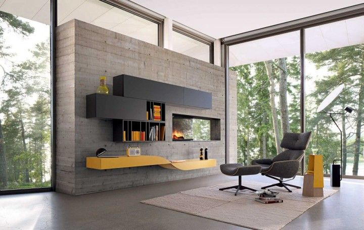Contemporary Living Room Wall Unit With Wide Glass Window And