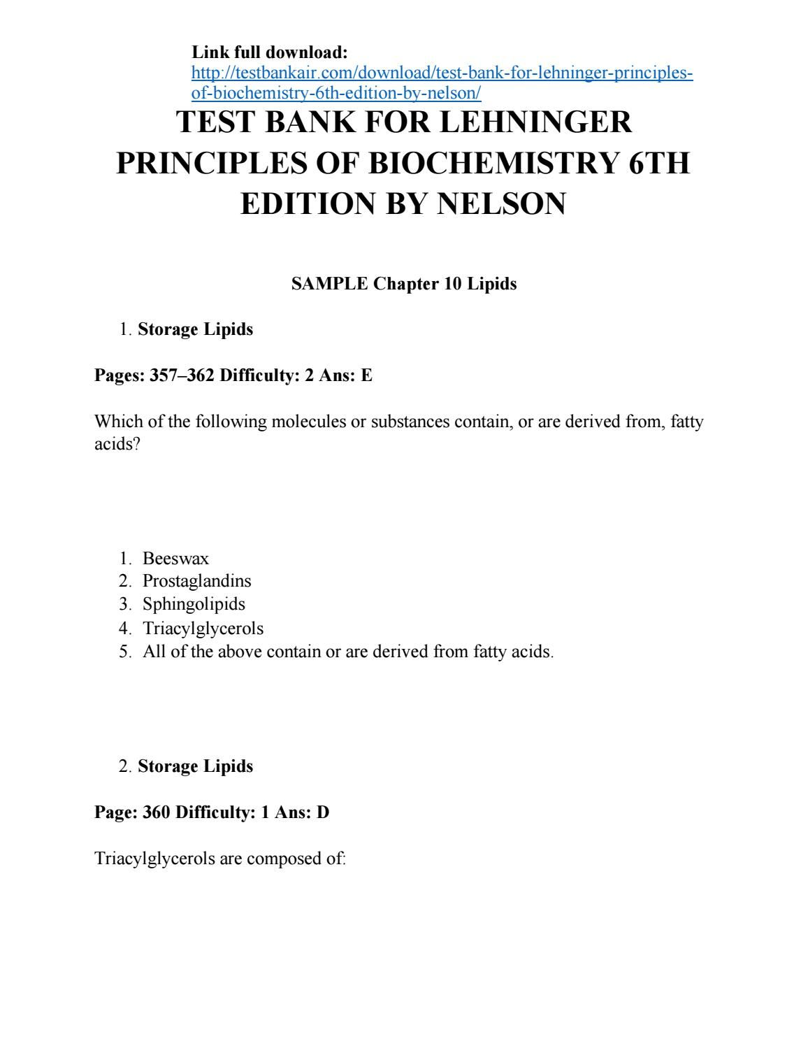 Download test bank for lehninger principles of biochemistry 6th edition by  nelson