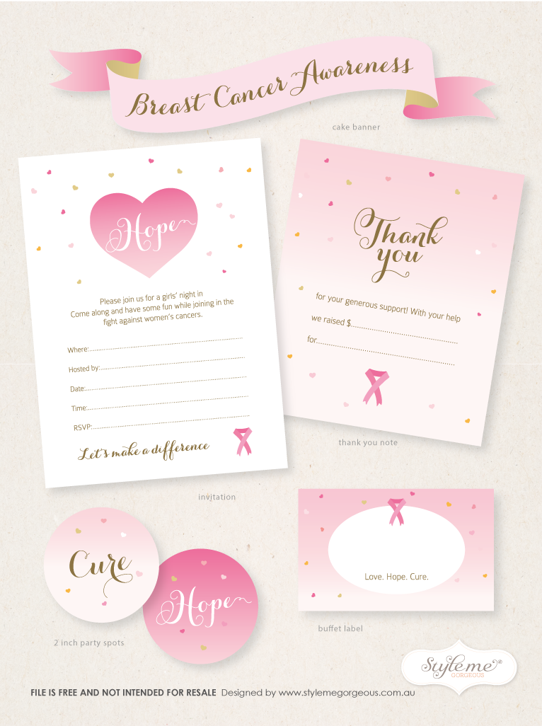 Free Breast Cancer Awareness Invitation template, thank you note ...
