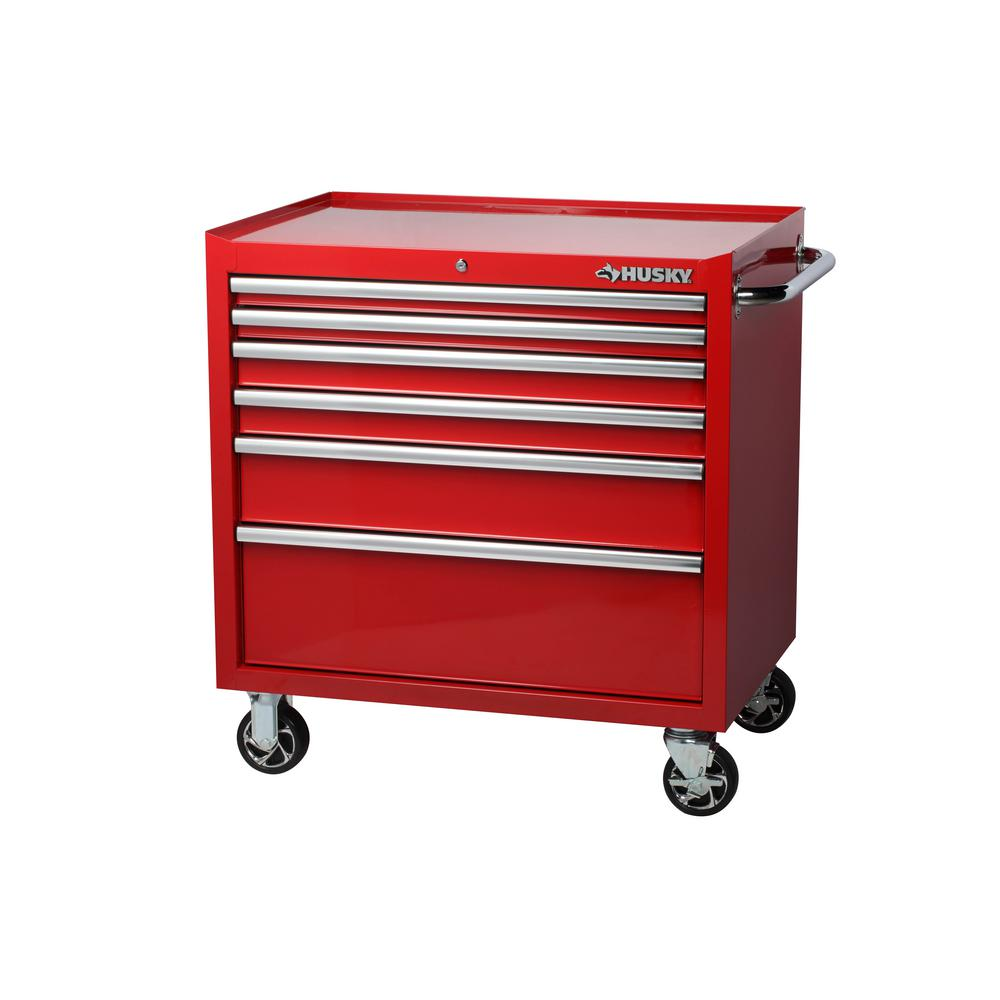 Husky 36 In W 24 5 In D 6 Drawer Roller Cabinet Tool Chest In Red Rust Resistant Powder Coat Red Finish Tool Chest Mobile Workbench Tool Storage