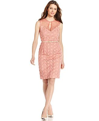 For Robin (MOB) - I love this one!!!  Maggy London Embroidered Keyhole Belted Dress - Dresses - Women - Macy's