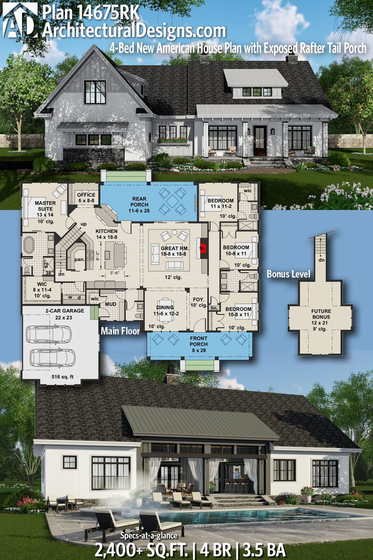 Plan 14675rk 4 Bed New American House Plan With Exposed Rafter Tail Porch House Plans Farmhouse Modern Farmhouse Plans Farmhouse Plans