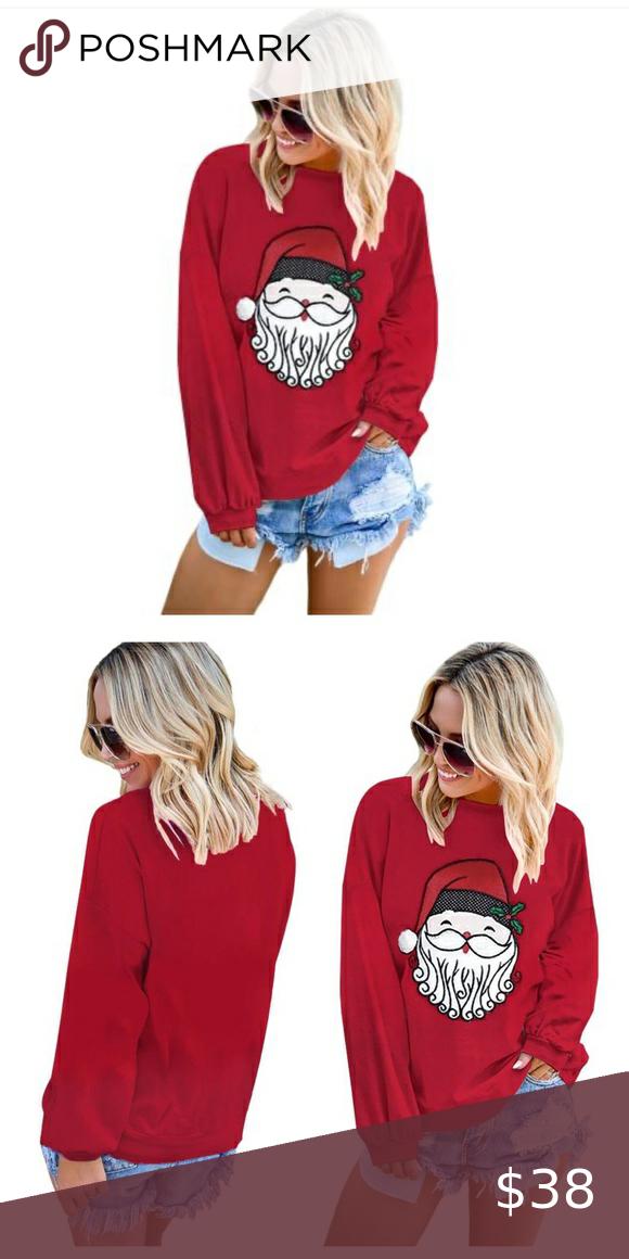 Santa Clause Pattern Pullover Sweatshirt