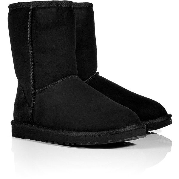 UGG AUSTRALIA Suede Classic Short Boots in Black ($245) ❤ liked on Polyvore featuring shoes, boots, ankle booties, ugg, sapatos, zapatos, suede bootie, black suede bootie, mid calf boots and black suede ankle booties