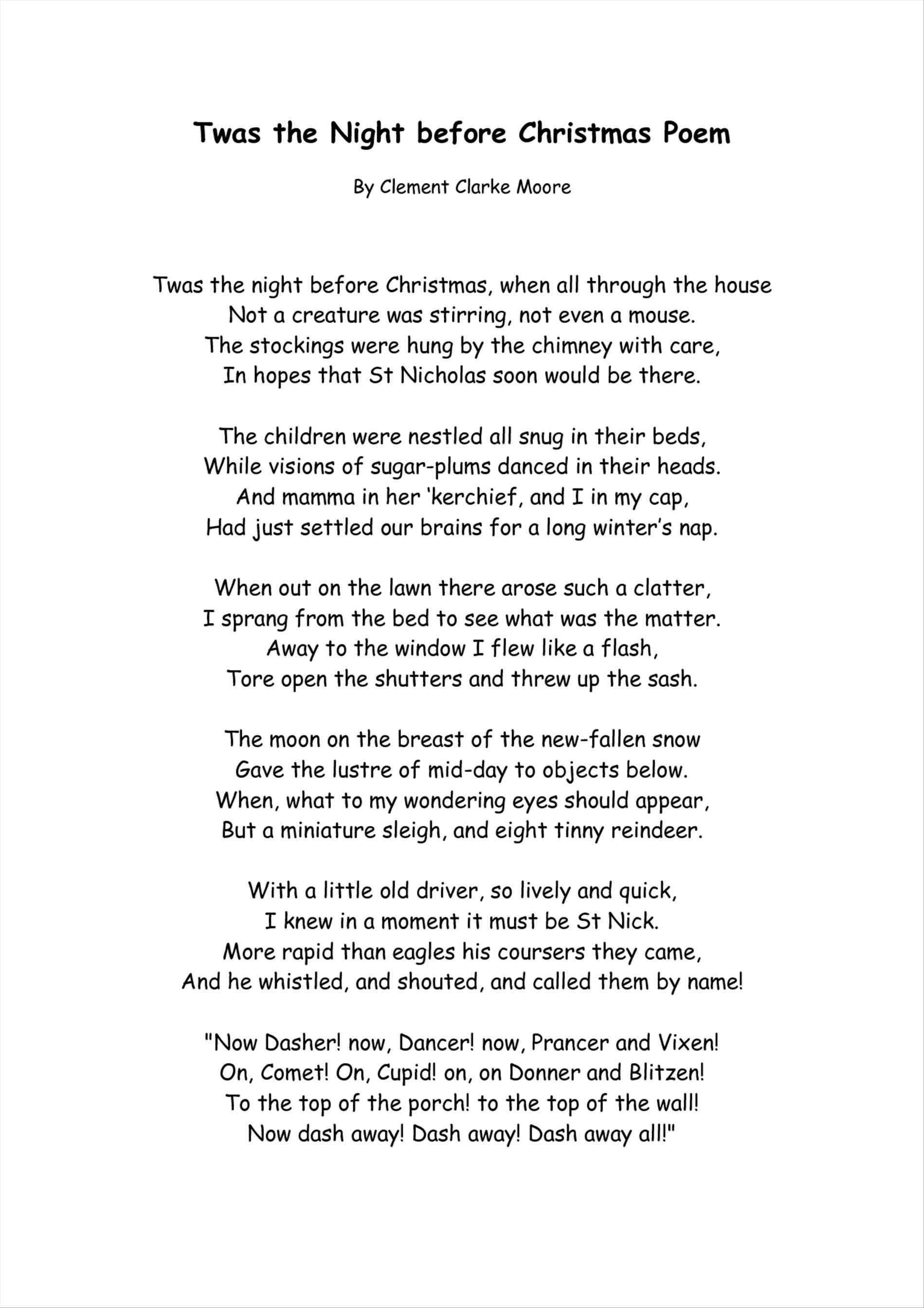 image regarding Poem the Dash Printable known as twas the evening prior to xmas poem printable