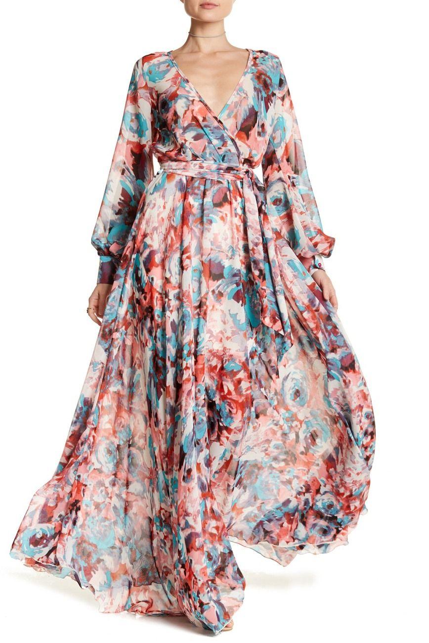 Meghan La Long Sleeve Maxi Wrap Dress Dresses Maxi Wrap Dress