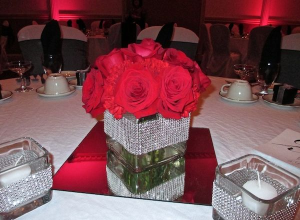 Red Rose and Carnation Mounded Centerpiece with Bling Cube