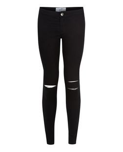 Teens Black Ripped Knee High Waist Super Skinny Jeans    New Look