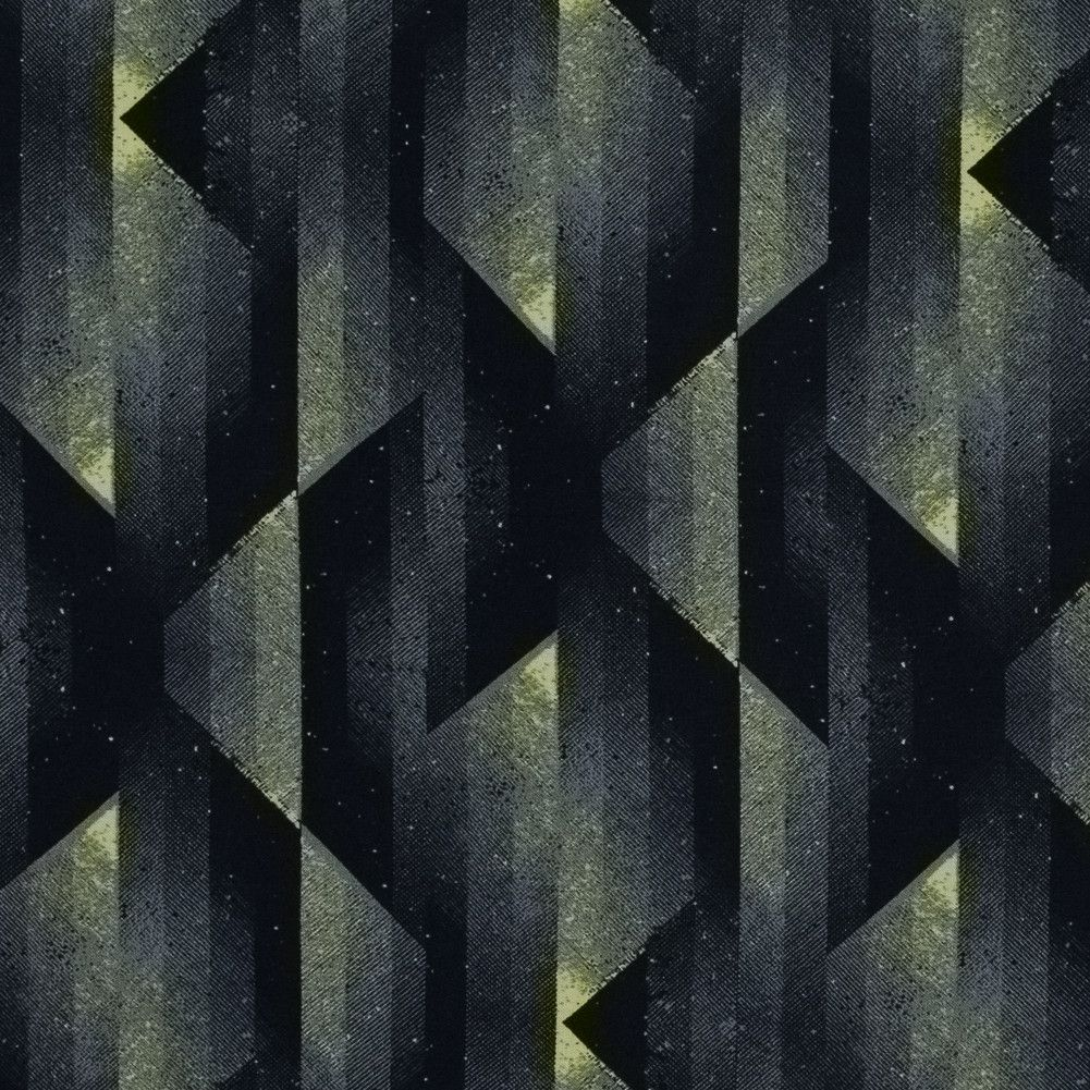 Black and Sulphur Spring Abstract Geometric Printed Viscose Batiste