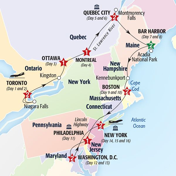 Map Of Tour Route Travel Pinterest Cruises - Map of eastern maine