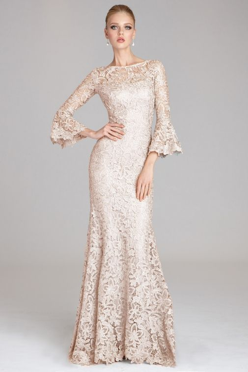 a9da521a4798 #blush #lace #flared #gown with #bellsleeves by #TeriJon available in  #extendedsizes perfect for all your #spring and #summer #specialoccasions  ...