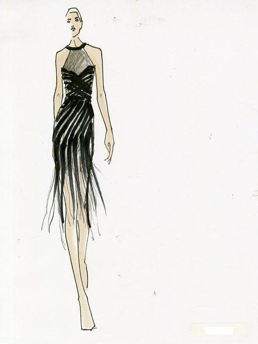 Donna Karan Black Draped Fringe Cocktail Dress Donna Karan