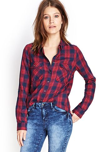 Button-Down Woven Plaid Shirt | FOREVER 21 - 2000058855