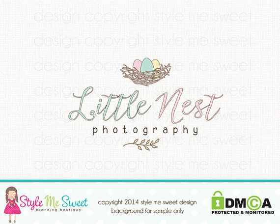 Premade Logo Design Custom Nest Photography by stylemesweetdesign