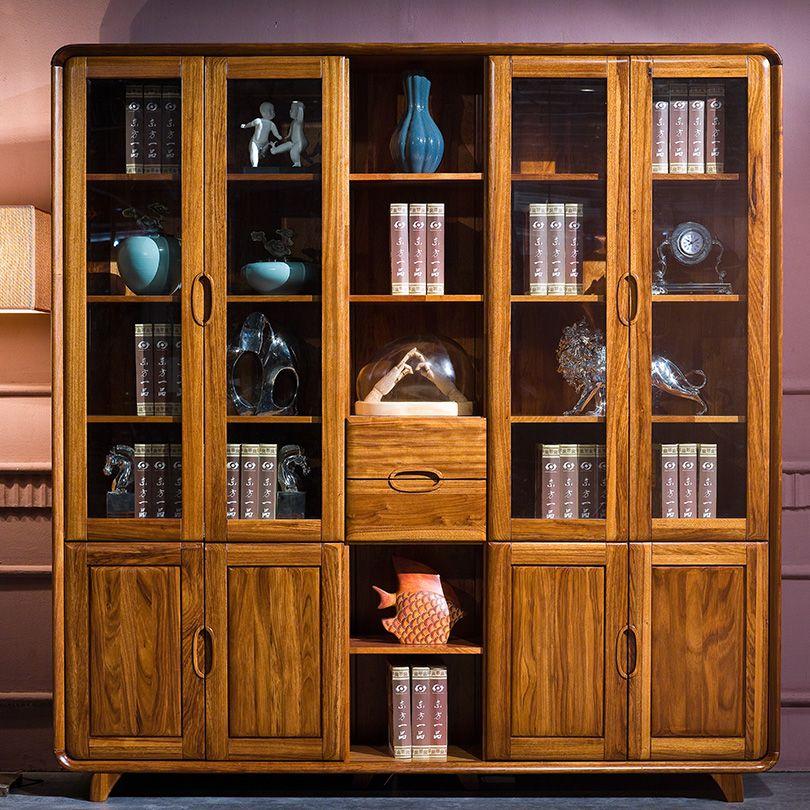 索格乌金木实木书柜转角自由组合带门成人田园书橱置物架婚房家具-淘宝网