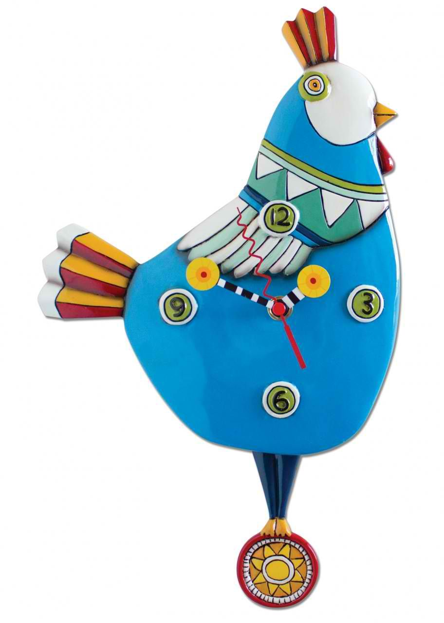 Funky Chicken Blue Clock Art By Allen Designs By Allen Designs | Art ...