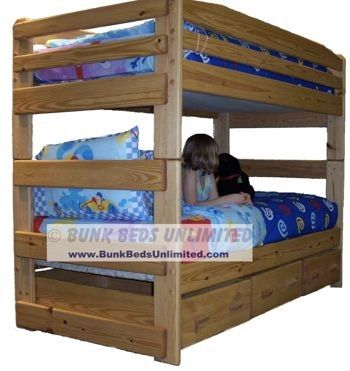 Bunk Bed Plan Stackable Twin Over Twin With Storage Drawers Or