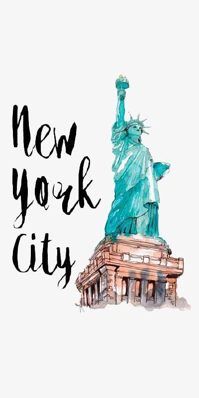 Nueva York Illustration Acuarela Estatua De La Libertad Nuevo Imagen PNG