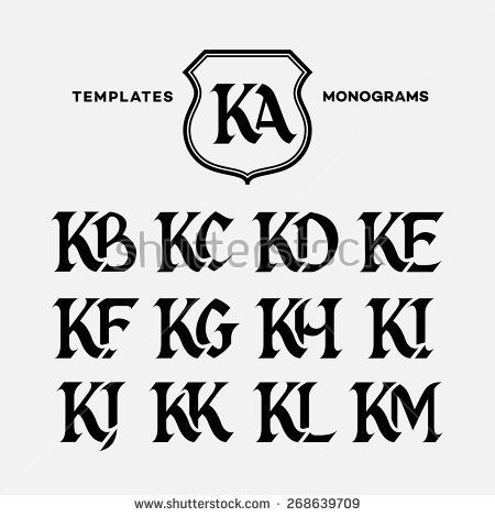 Monogram design template with combinations of capital letters KA KB KC KD KE KF KG KH KI KJ KK KL KM. Vector illustration.