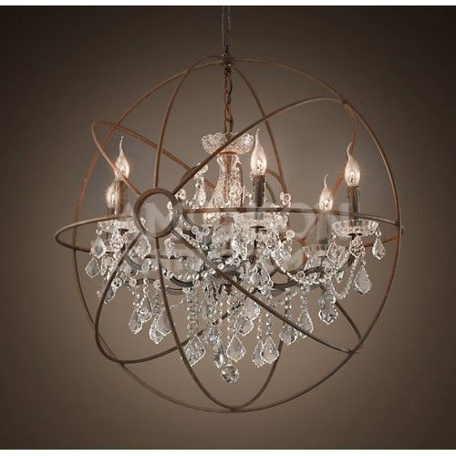 Foucault S Orb Crystal Chandelier Rustic Iron Replica With Images