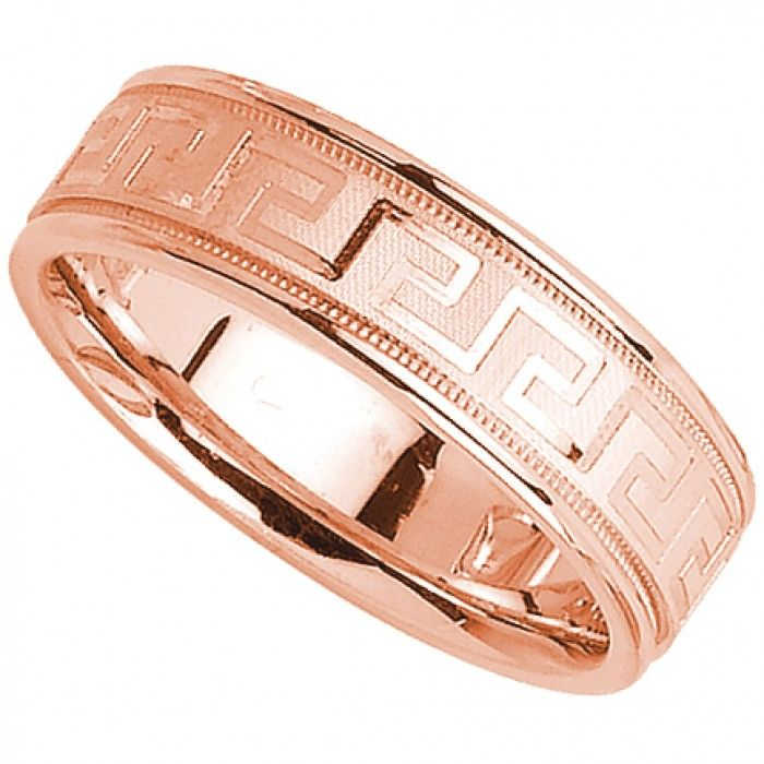 greek key 14k rose gold mens wedding band 6mm