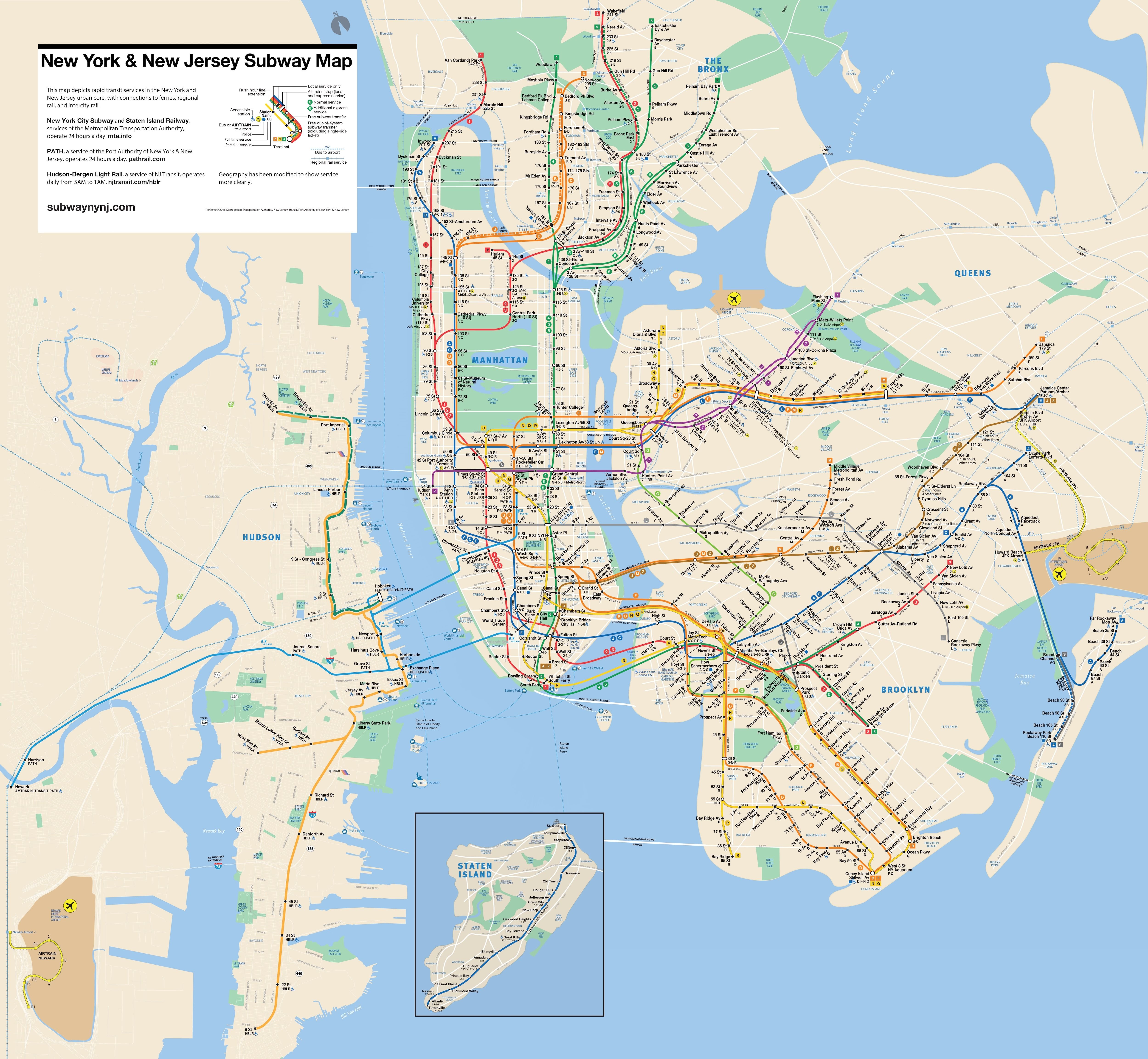 New York & New Jersey Subway Map | Map of new york, Nyc ...