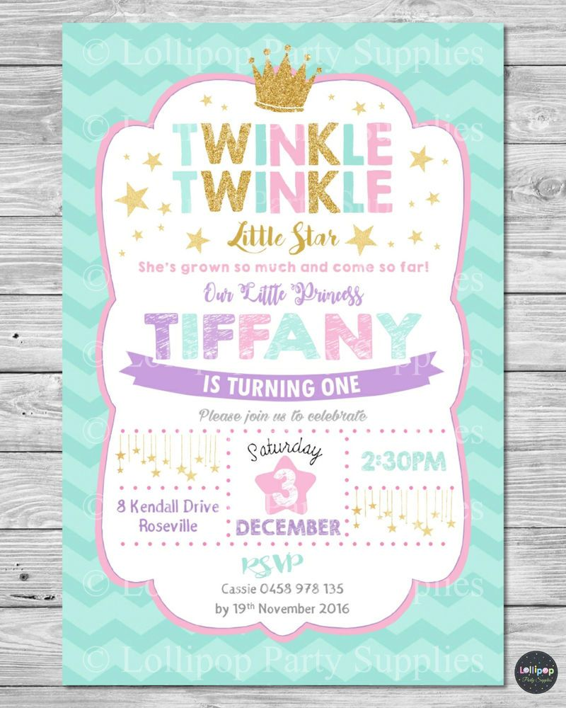 Twinkle little stars invitation princess invite 1st first birthday ...