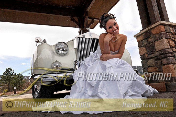 Bride and Old Time Car Wedding Portrait