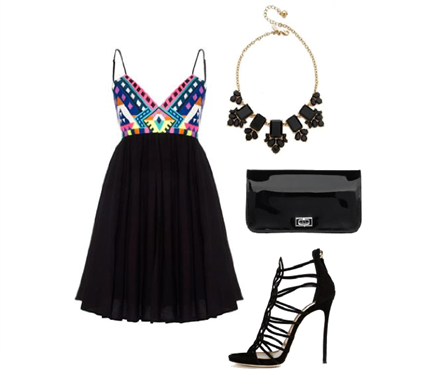 Night Out with a Little Black Dress | shop the look with Salt Resort Wear, DSquared2, Kate Spade, Knights and Roses.