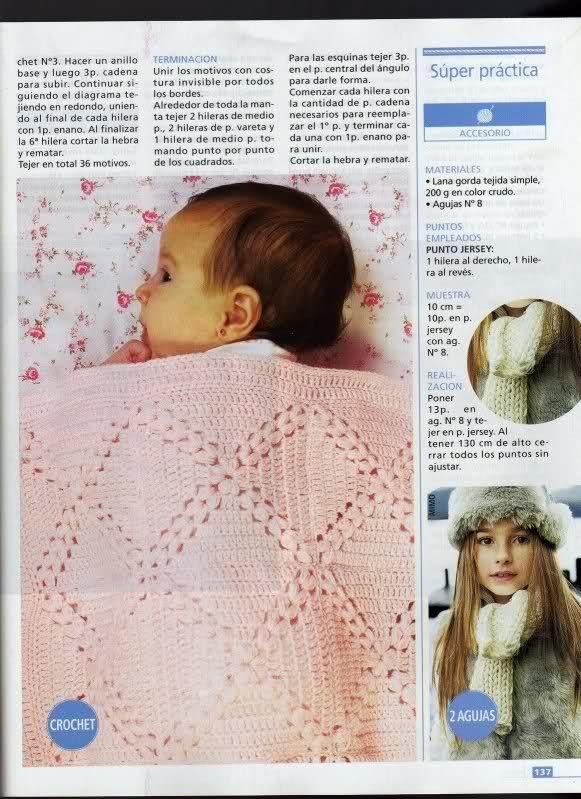 Patrones de Mantitas para bebés (Tejidas a crochet para Marijou ...