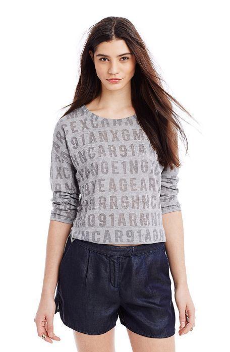 Burnout Logo Sweatshirt - Knit Tops - Womens - Armani Exchange
