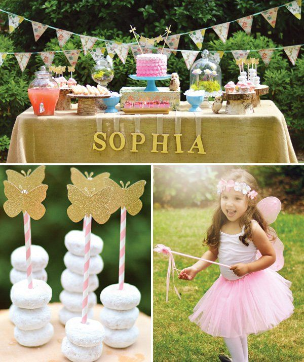 woodland fairy birthday party dessert table