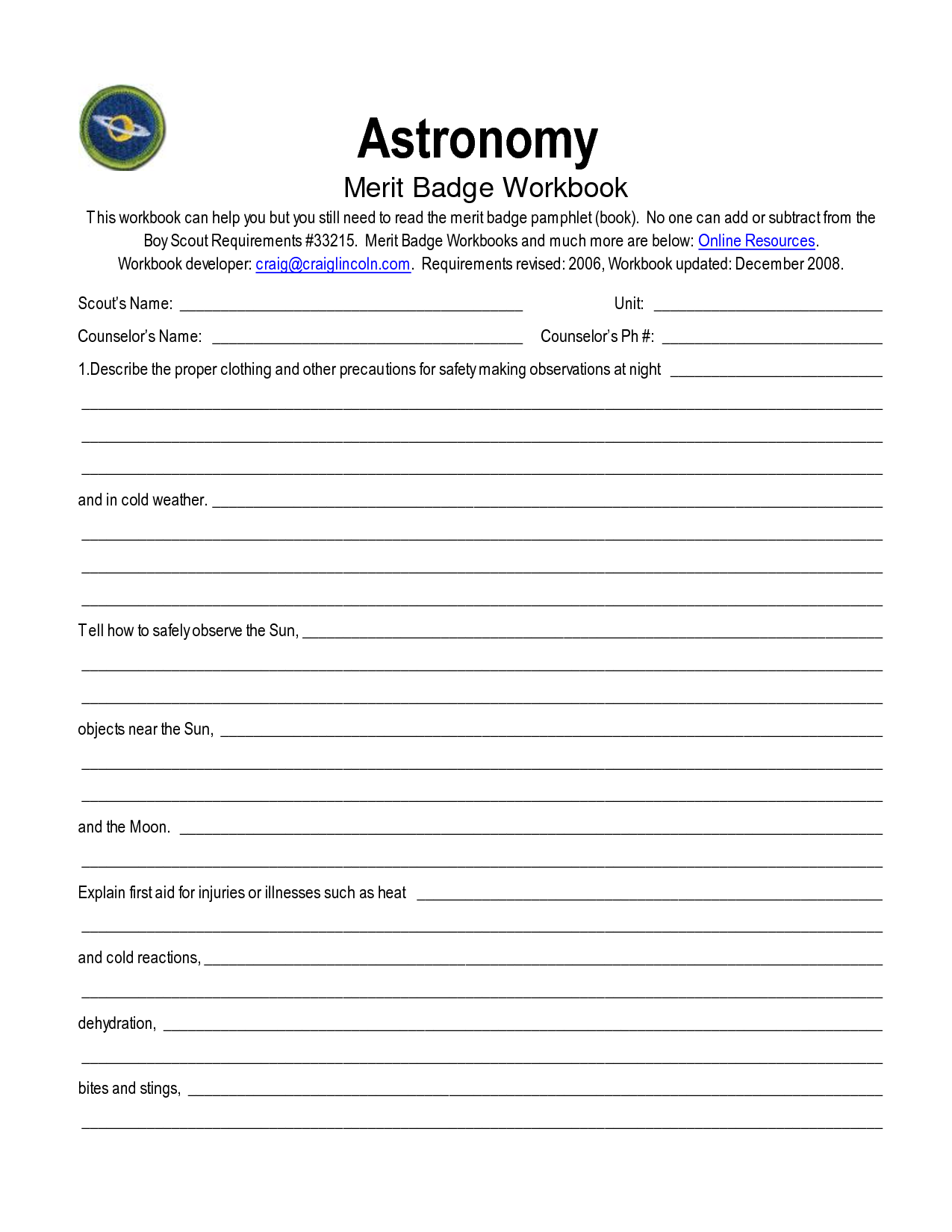 Astronomy Merit Badge Worksheet